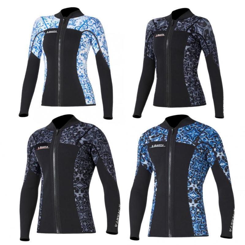 3MM Warm Neopren Langarm Wetsuit Anti-UV-Surfing Jacke Frau Mann Tauchen Schwimmen Scuba Surfen Frontreißverschluss Jacke Top