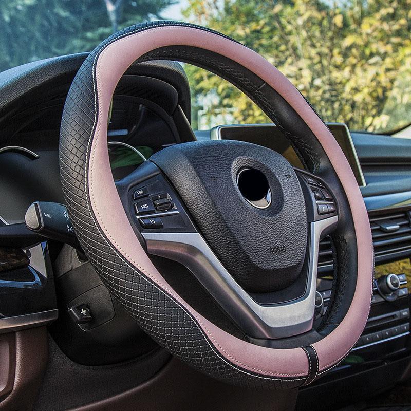 """Cubierta del volante 37/38 cm 15 """"manejar el diámetro de la cubierta del coche rosa accesorios de coche para las chicas de piel de diamante patrón de Onda Nueva"""