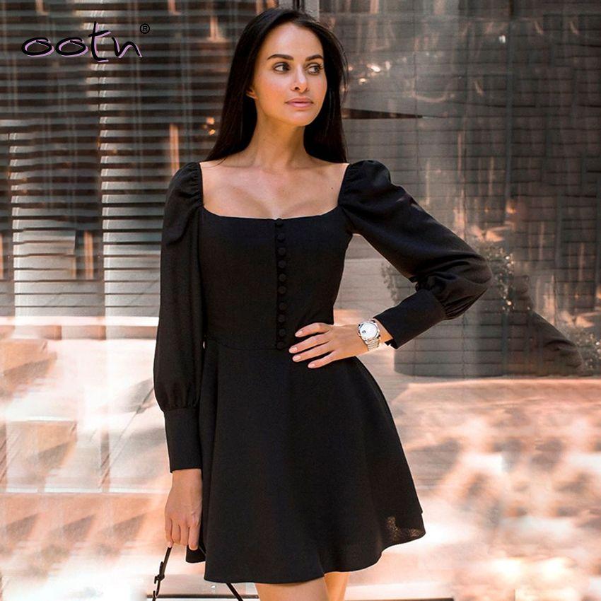 Vintage Kare Yaka Gömlek Elbise Tek Breasted Uzun Kollu Backless A-Lin Dantelli Katı Patchwork Vestido Örgü Elbise Femme