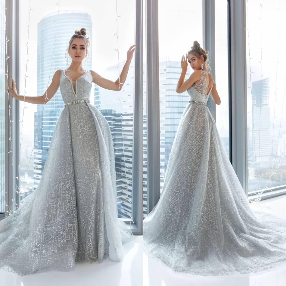 2020 Modeste Belle col en V manches Backless Une ligne Robes de soirée Paillettes cristal Robes formelles balayage train Parti robe