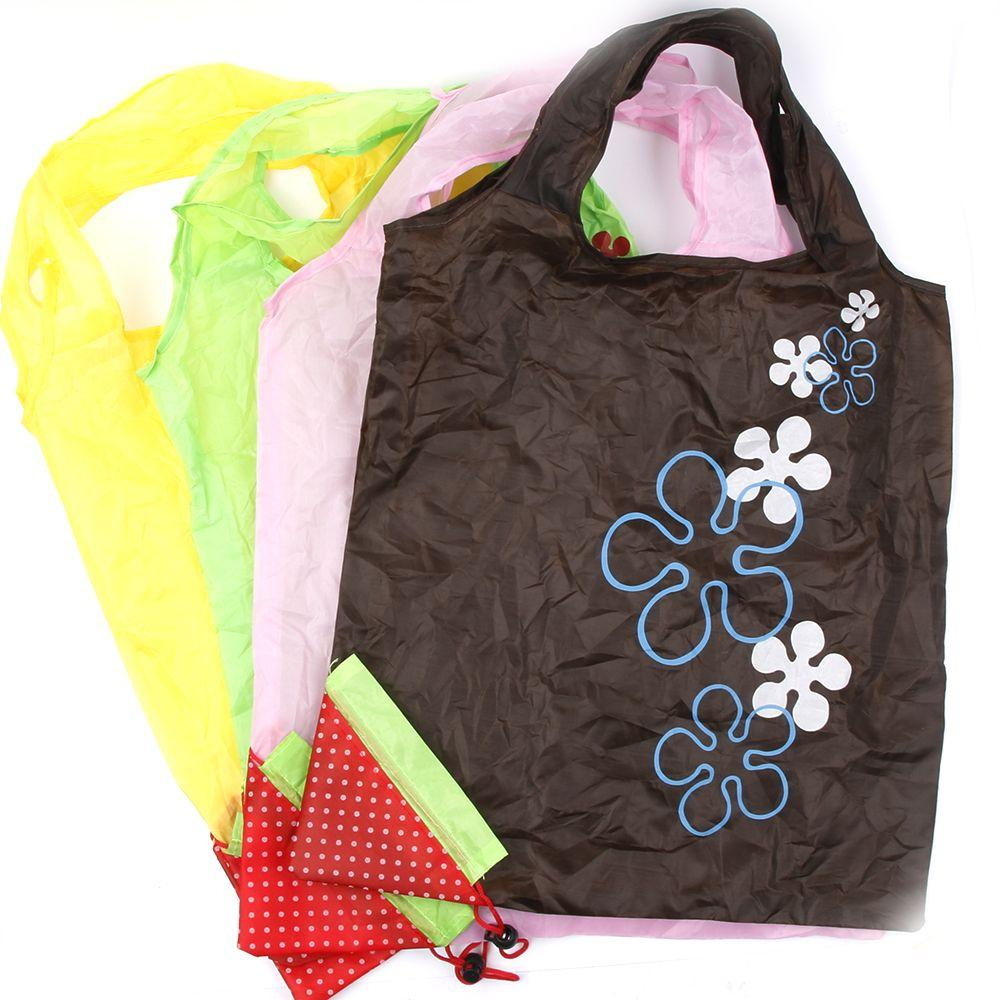 Fashion Storage Handbag Strawberry Grapes Pineapple Foldable Shopping Bags Reusable Folding Grocery Nylon Large Bag Random Color