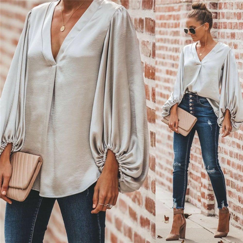 Moda v cuello manga larga mujer abrigo casual sólido camisa otoño tops sueltos blusa de gasa globo manga de globo ropa de mujer