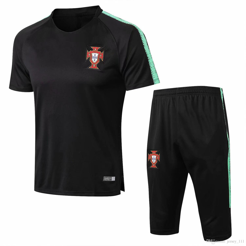 Calças de treino de manga curta de treino de manga curta portuguesas jersey de divisão Calças com bolsos de zíper nos dois lados