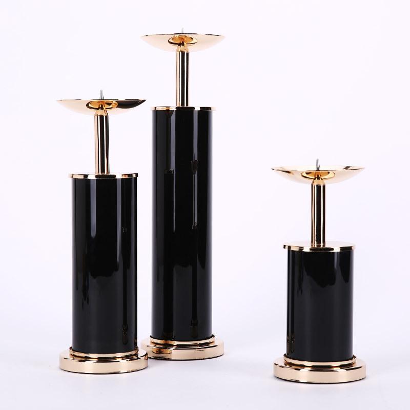 3 pièces en métal noir Candelabra Set Bougie votive Bougeoir Bougie