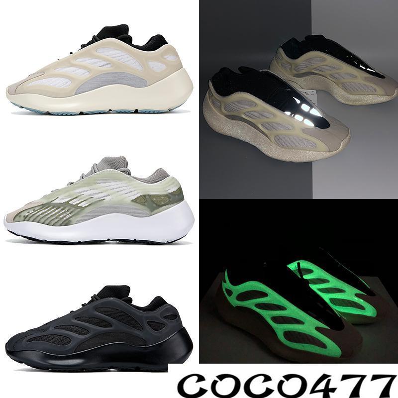 kanye 700 V3 Azaël Alva chaussures de course brillent dans le noir hommes blancs formateurs femmes designer mode sport US 5-11 T1E1