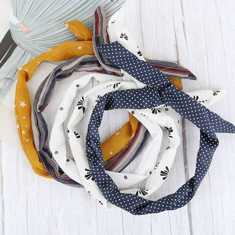 Mujeres Niñas alambre de hierro estampados de tela Cinta de cabeza del oído de conejo diadema envuelta DIY colorido arco de la venda principal Hairband lavado de cara DH1391