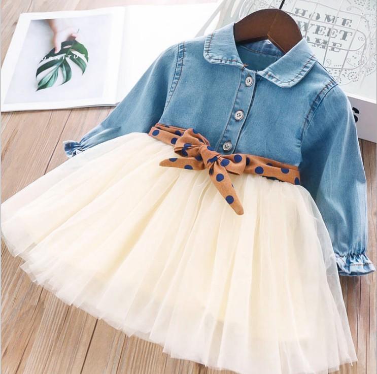 2019 Style Coréen Denim mode Tout-petits Patchwork Gaze De Filles bébé manches longues Ballet élégant Robe Jolie Tutu