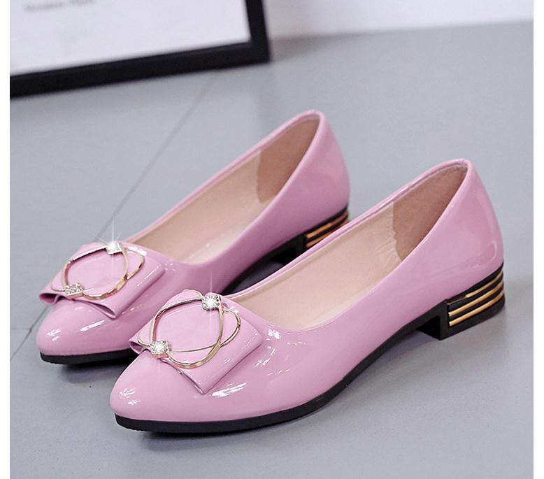 2020 весной и осенью с новой моды стиль Низкий каблук заостренным концом бантом обувь Женская @ MQWBH801