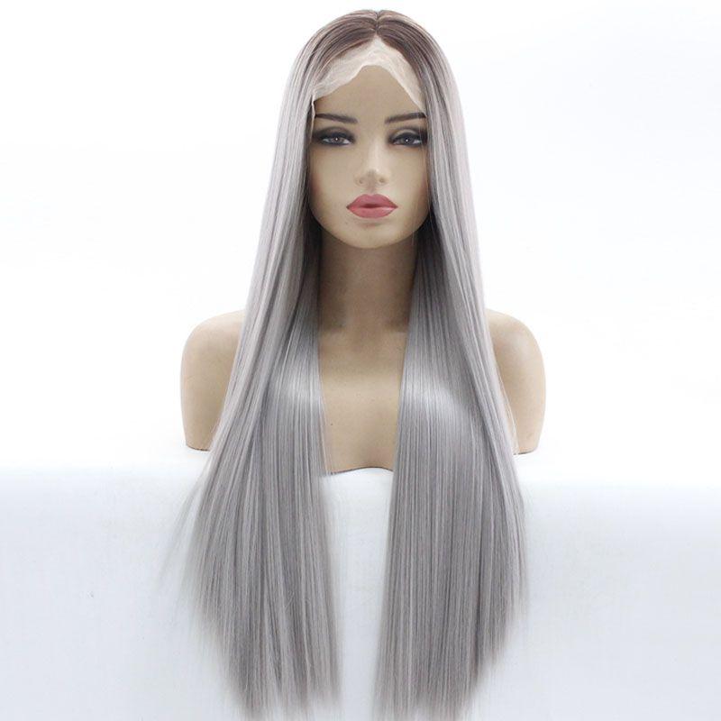 2 Tone Couleur Gris Argent Ombre Glueless Lace Front Wigs Marron clair longues racines naturelles droite résistant à la chaleur synthétique cheveux