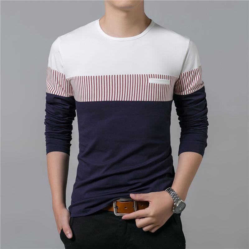 T -Shirt Erkekler İlkbahar Yaz Yeni Uzun Kollu O Boyun T gömlek erkekler Marka Giyim Moda Patchwork Pamuk Tee Mükemmel Tops