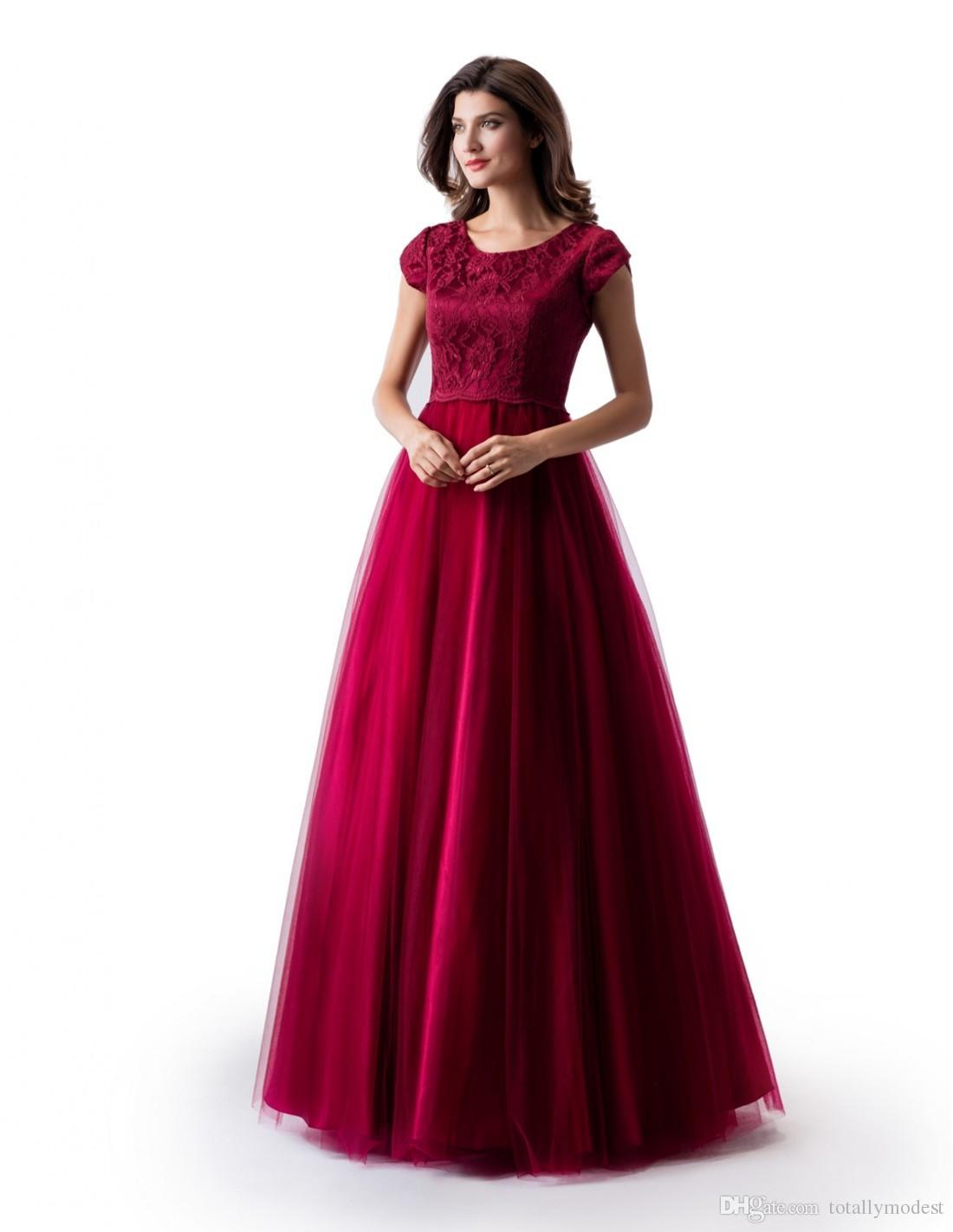 New A-line Dark Red Long Modest Prom Dress With Cap Sleeves Jewel Neck Lace Top Tulle Skirt Floor Length Teens Formal Evening Dress
