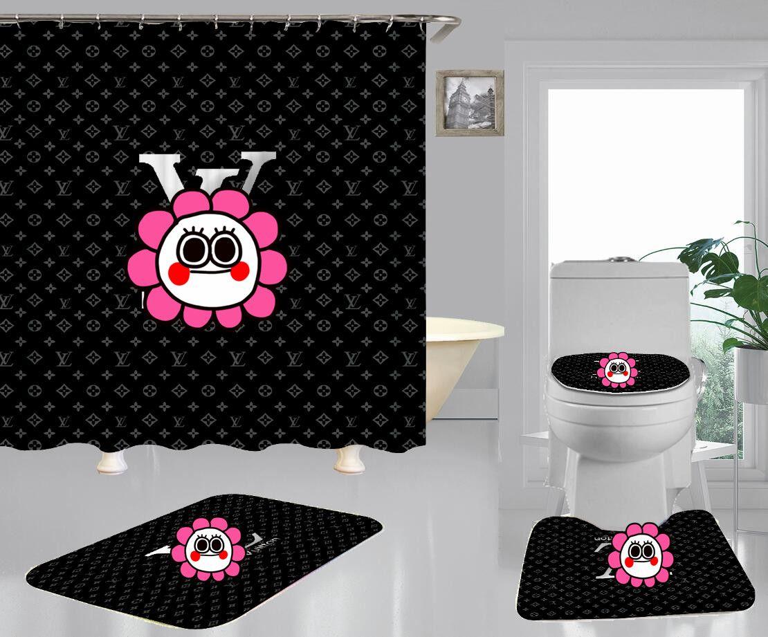Moda Luxo chuveiro cortina de chuveiro à prova d'água texto Cortina Digital moderno design minimalista Nova cortina de chuveiro Toilet Seat Cover