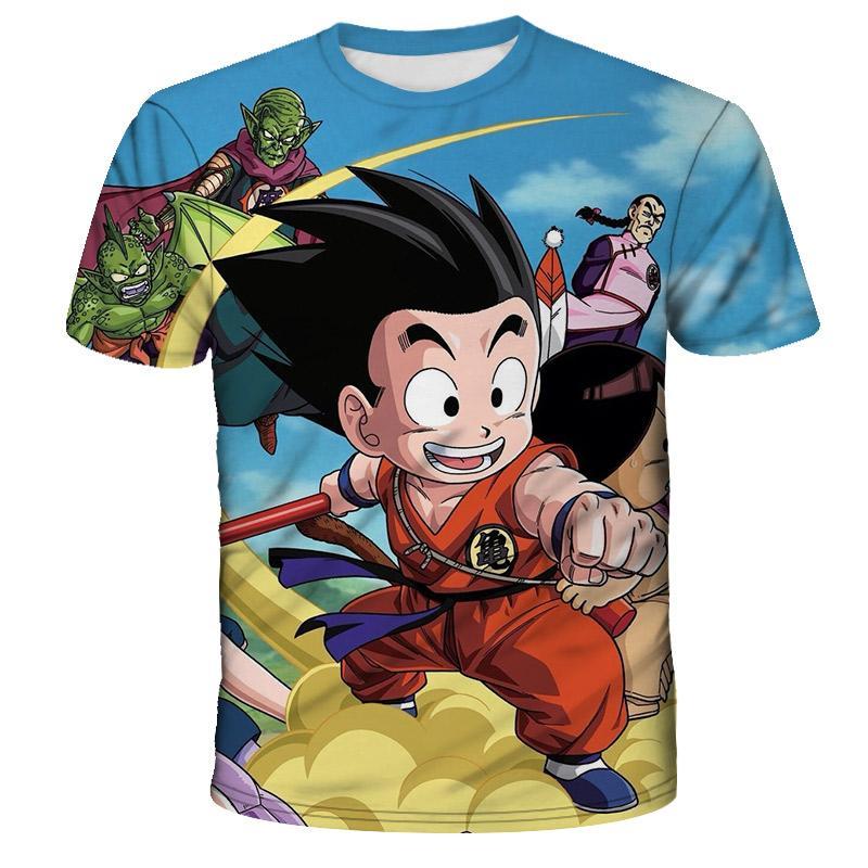 Mode 3D récent Goku Imprimer à manches courtes Tops Cartoon Hip Hop Casual T-shirt Manga Anime z été Harajuku