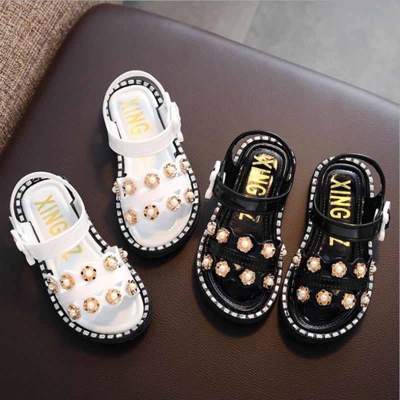 Mädchen Sandalen Sommer-Kinderschuhe mit Perlen verziert Kunststoff Sandale Bademode Fashion Baby-Kleinkind-Mädchen-beiläufige Prinzessin Kinder Sandale