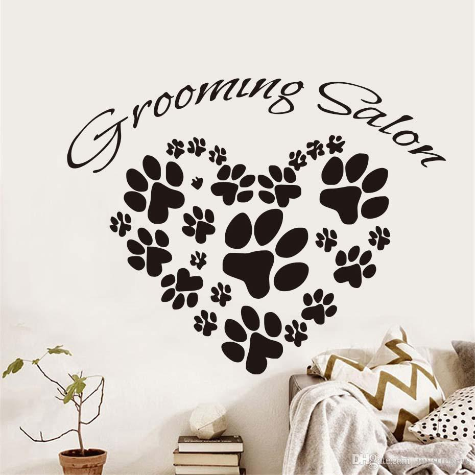 DCTOP Grooming Salon Wall Sticker For Living Room Animal Dogs Paw Prints Heart Design Vinyl Removable Art Mural Home Decoration