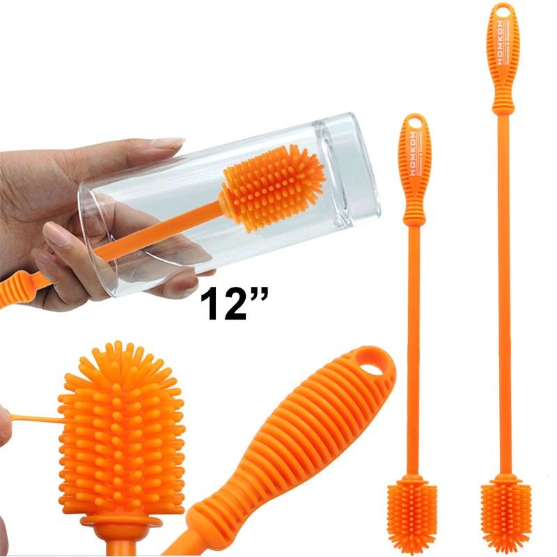 """12"""" Silicone Bottle Cleaning Brush for Glass Bottles, Baby Bottle, Vacuum Bottle, Thermos, Mugs, Jars, Jugs, Cups, Flasks, Shaker"""