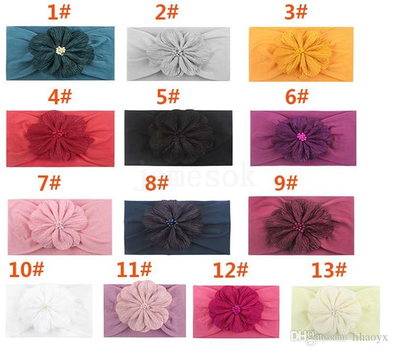 Mode Baby Stirnbänder Nylon Blume elastische Haarbänder Kinder Kinder Kopfbedeckungen Kopfschmuck Baby Mädchen elegant Haarschmuck DA241