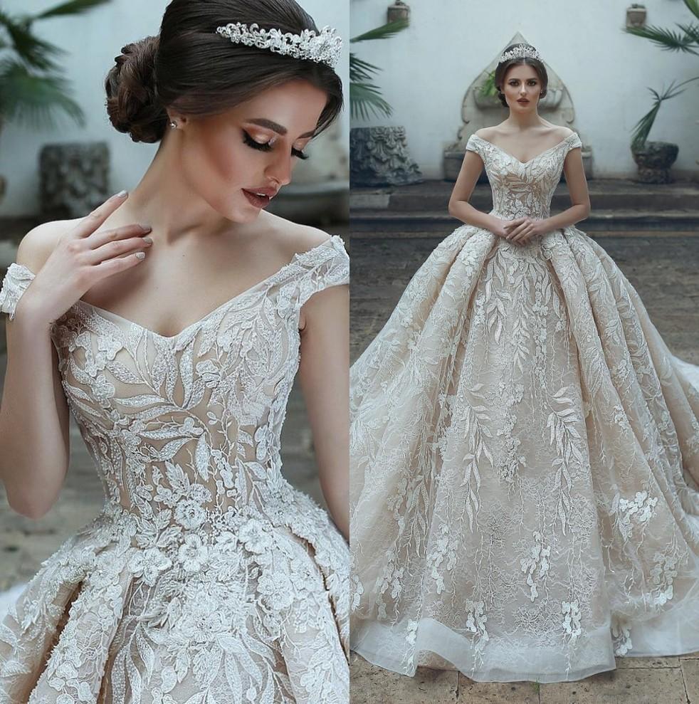 Vestido De Novia árabe Luxo Dubai V-Neck Tulle Applique vestido de noiva 2020 Ombro elegante Off casamento vestidos de noiva Robe De Mariee