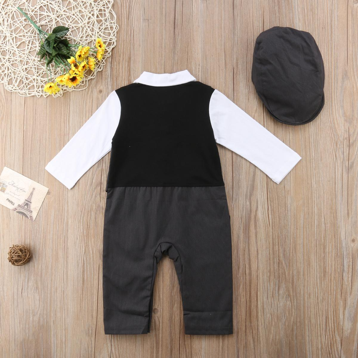 Newly Toddler Baby Boy Formal Suit Party Wedding Tuxedo Gentleman Double Breasted Romper Jumpsuit +Hats Outfit 0-24M