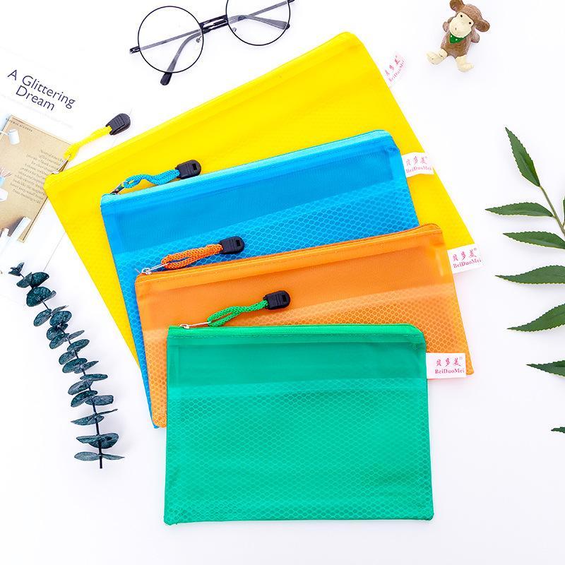 شبكة سستة ملف مجلد البلاستيك للماء وثيقة حقيبة تخزين حقيبة تخزين القرطاسية رشاقته ملف الجيب أكياس الأرشفة DBC DH1488