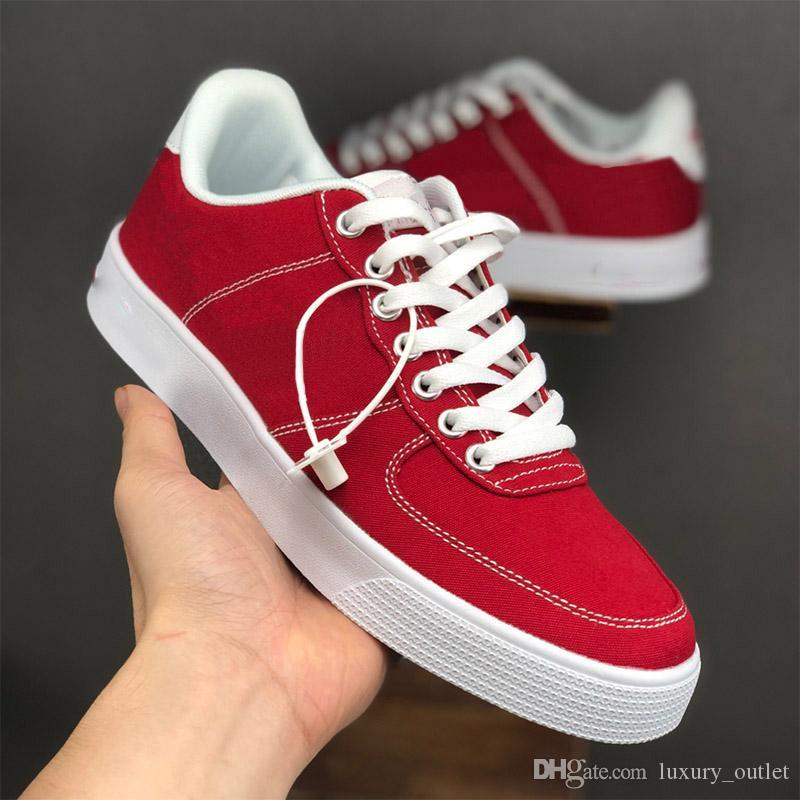 fuerzas al por mayor zapatos de cuero ac diseñador del mens clásicos lona de las mujeres de aire 1 una zapatillas de deporte superiores bajos todos Chaussures blanco rojo negro para damas