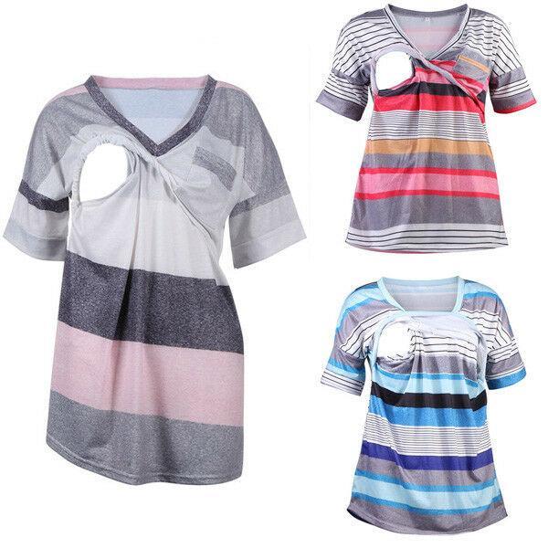 Emmababy Verão Maternidade Stripe T-shirt Enfermagem Top Mulheres Casual Tops V-Neck Amamentação Tanque