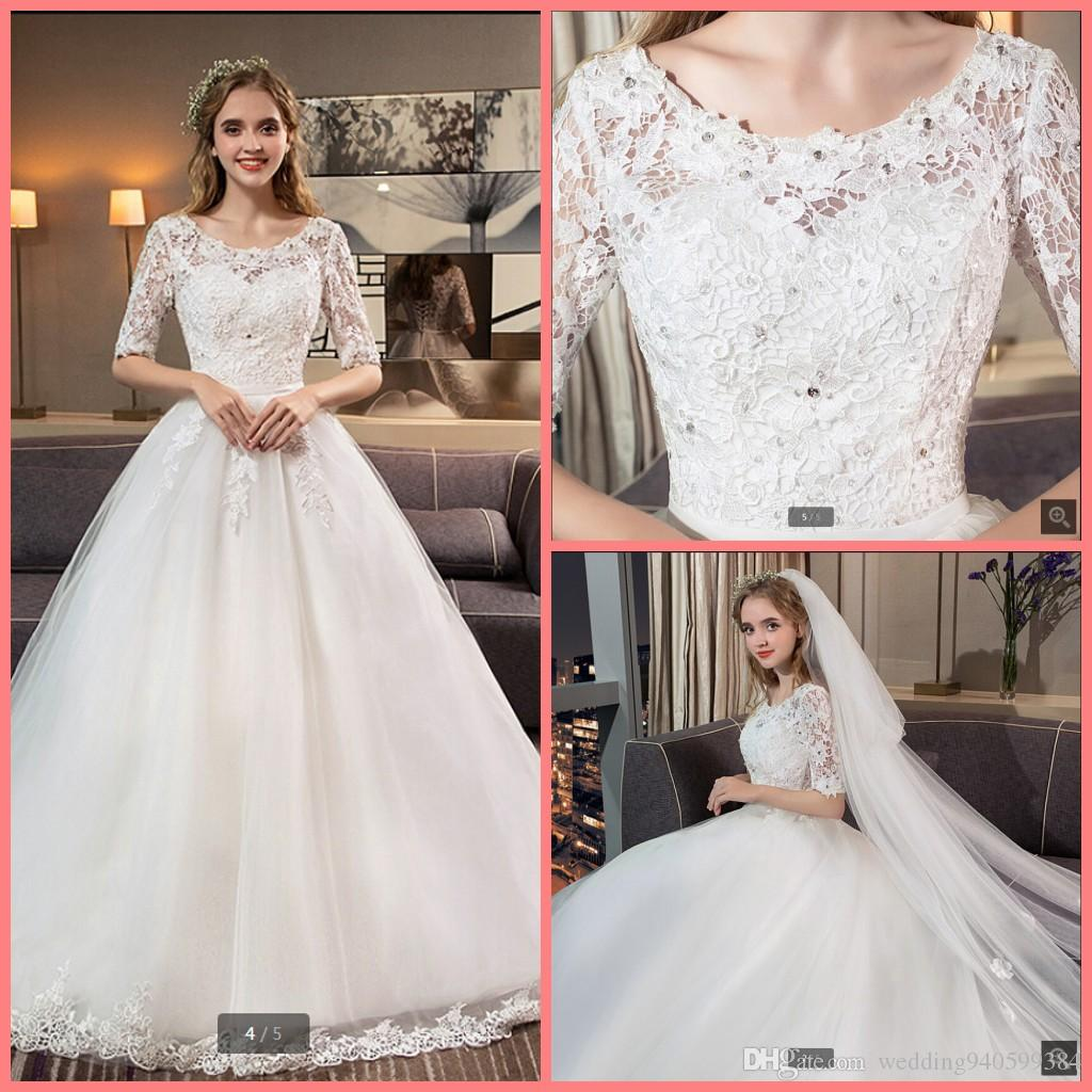 2019 free shipping ball gown white lace appliques wedding dresses half sleeve princess puffy beaded modest bride gowns wedding hot sale