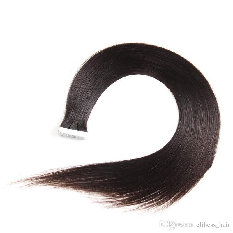 Лента Перуанский Человеческие волосы Remy в выдвижениях волос 16 18 20 дюймов 100g 100% кожи человека Уток выдвижений волос