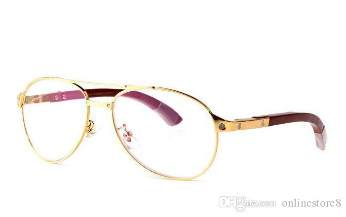Occhiali da sole firmati per la moda uomo Cornice ovale vintage in metallo di lusso Occhiali in legno di corno di bufalo Lenti chiare marrone Occhiale in argento dorato