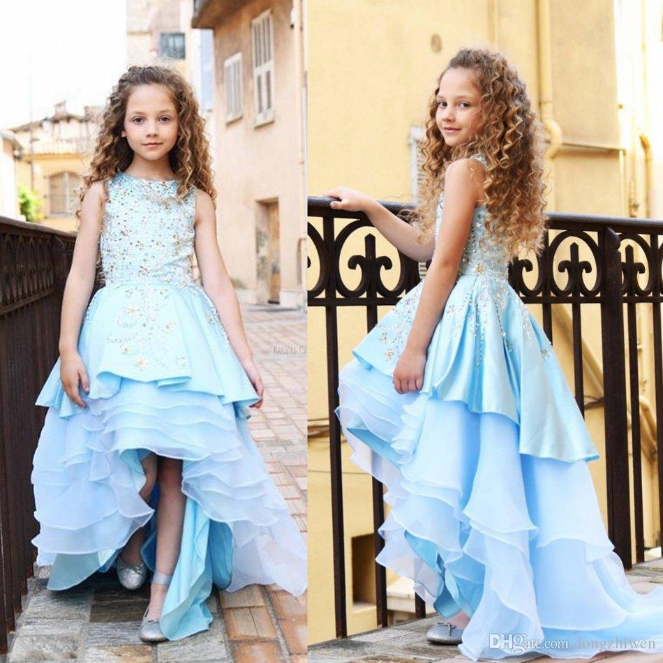 2020 Цветок девочки Платья Jewel шеи рукавов Beads многоуровневого атласная Pageant платья Привет Lo Girls Party мантий