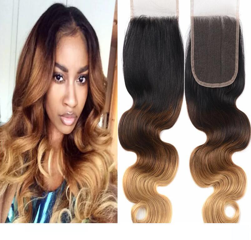 Cierre cordón del pelo de H Ombre tono del color 3 4 27 1b 9a Parte de Grado Medio brasileño de la Virgen del pelo humano del encierro de la tapa envío