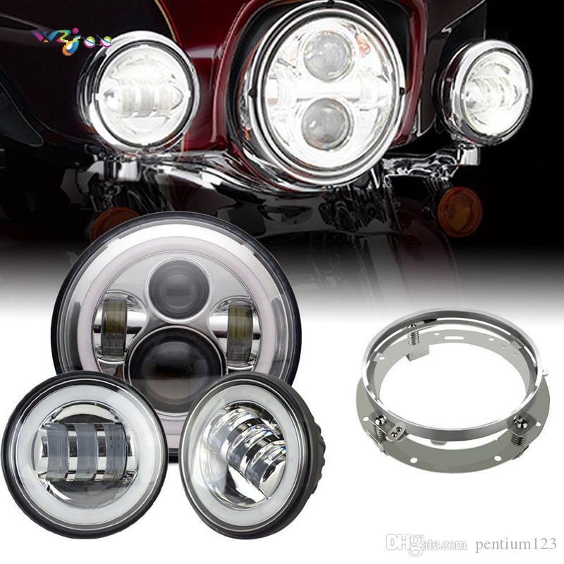 "Far 7 ""LED Motor Far 4.5"" 4 1/2 inç Yamaha YBR125 YBR 125 02-13 Honda kawasaki w80 için Işıklar"