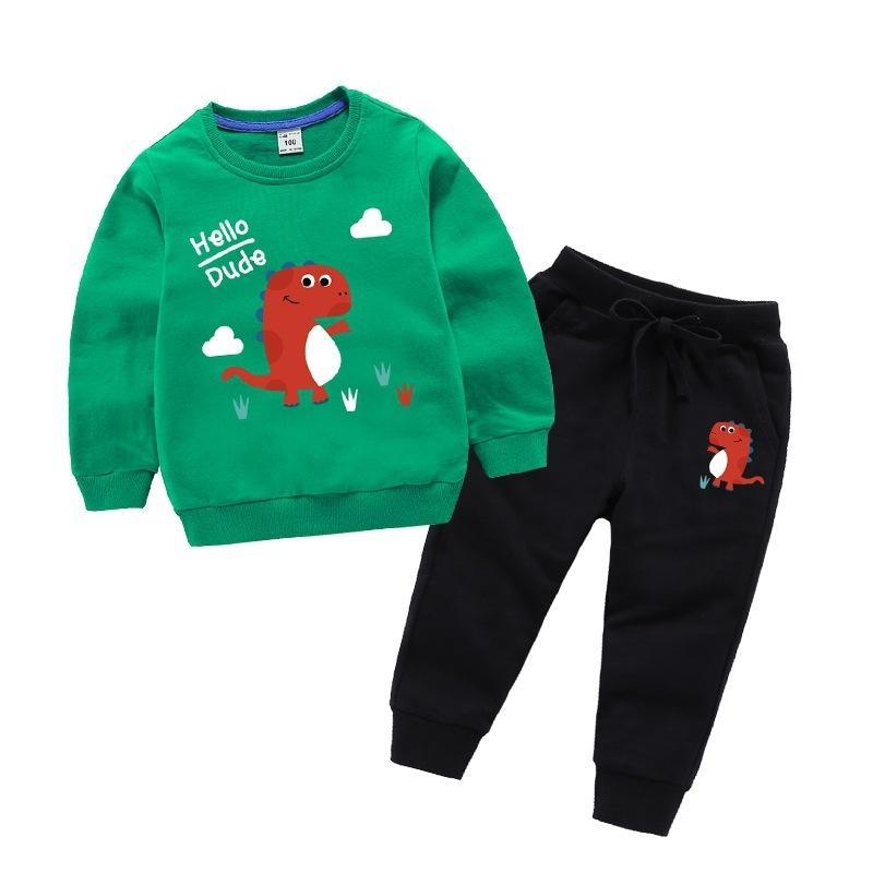 Spring Niños Niñas sistemas de la ropa ocasional otoño Adolescentes que linda impresión de manga larga de la camiseta + Pant 2 piezas de los trajes del deporte Ropa Infantil CY200515