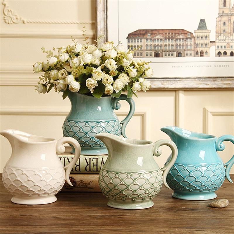 Porcelana Criativa europeia e americana Flor Vaso Moda Artesanato Ornamentos Mobiliário Doméstico