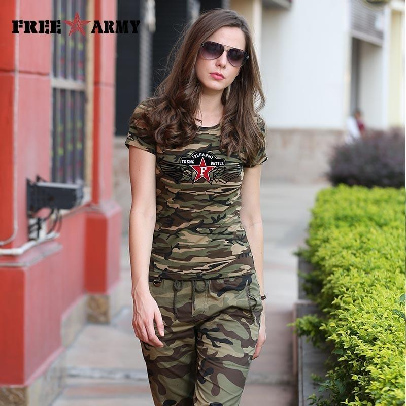 Freearmy Brand Summer T-shirt Women Star Printing Military Camouflage Cotton T Shirts Female Camo Tops Tees Women's Clothing Y19051104