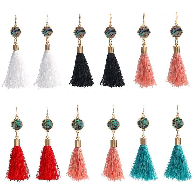 2020 Bohemian Long Tassel Pendant Earrings Copper Ear Hook Round Abalone Shell Statement Earrings Women Jewelry Valentine's Day Gift M923F