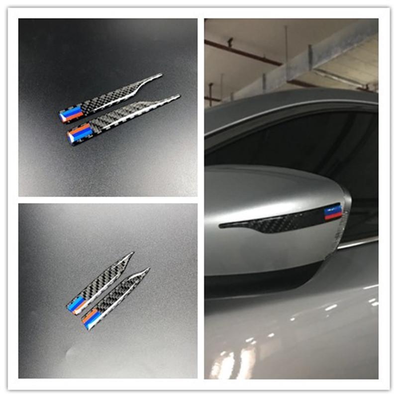 2pcs Universal Carbon Fiber Rearview Speht Sticker Sticker Strips Anti-RUR Protector per BMW E90 E60 F30 F10 F20 x1 x3 x5 x6 Styling Anti-Collision