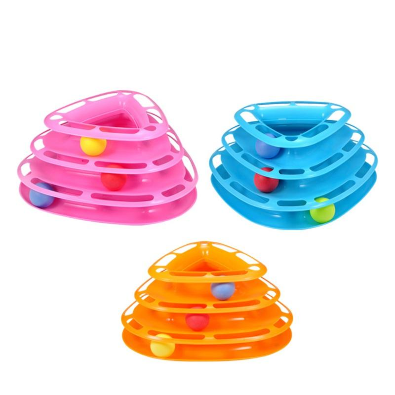 Funny Cat Track Crazy Ball Turntable Trilaminar Pet Toy Kitten Puppy Disk Amusement Plate Interactive Game Playing Disc Supply