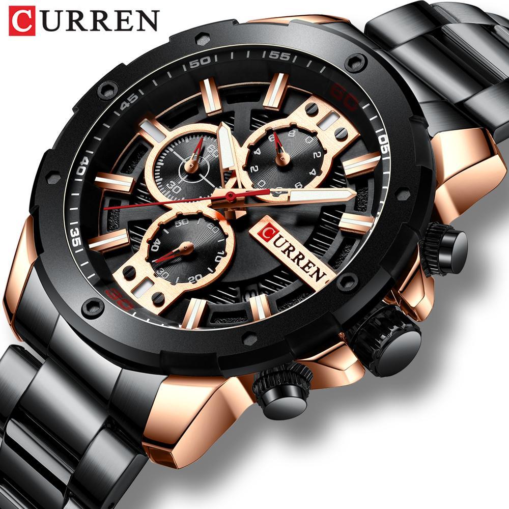 CURREN cuarzo del deporte de los hombres del reloj de la nueva manera de lujo de acero inoxidable de los relojes Cronógrafo Relojes Hombre Reloj Reloj Hombres