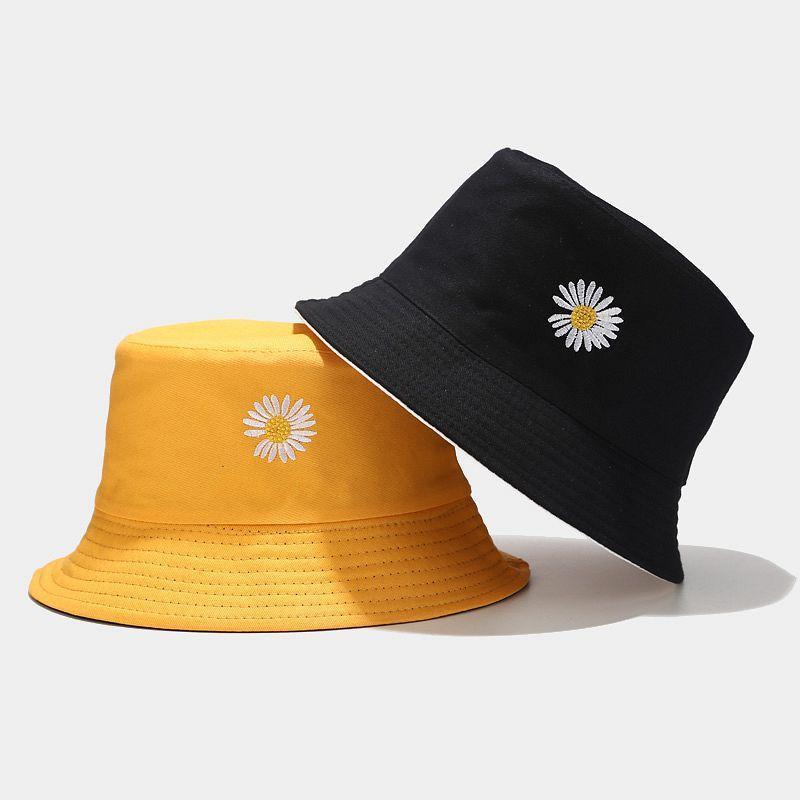 2020 여름 여성 노란색 낚시 캡 고체 데이지 놓은 버킷 모자면 어부의 모자 힙합 캐주얼 모자 chapeau을 feminino