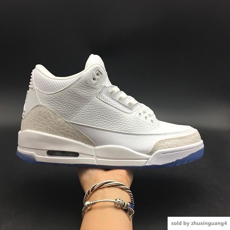 3 Pure Branco 136064-111 3s III pontapés basquete masculino Esportes sapatos Sneakers Trainers originais