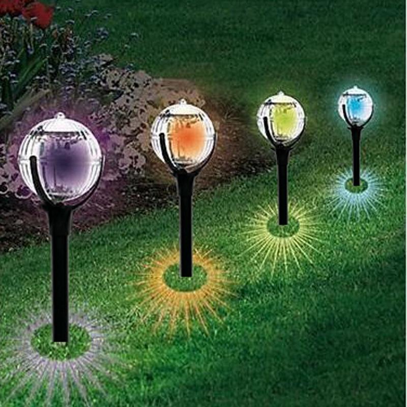 Control de luz de colores césped lámpara solar al aire libre solar del jardín Lámparas de pie de plástico impermeable Luz de grama jardín al aire libre antorcha lámpara VT0331