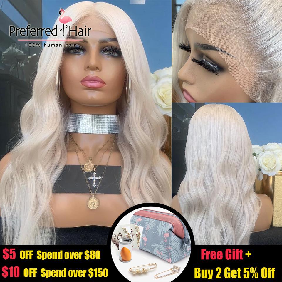 여성을위한 선호하는 150 % 플래티넘 금발 인간의 머리 가발 Preplucked 글루리스 (glueless) 전체 레이스 가발 브라질 레미 투명 레이스