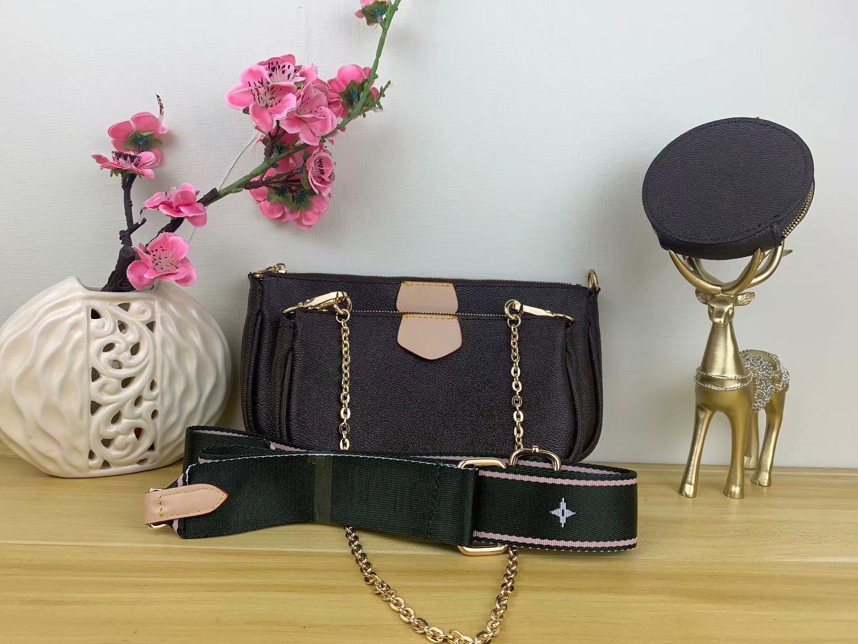 즐겨 찾기 멀티 포 셰트 디자이너 가방 핸드백 지갑 정품 가죽 L 꽃 어깨 크로스 바디 백 여성 지갑 3 PC를 저녁 지갑