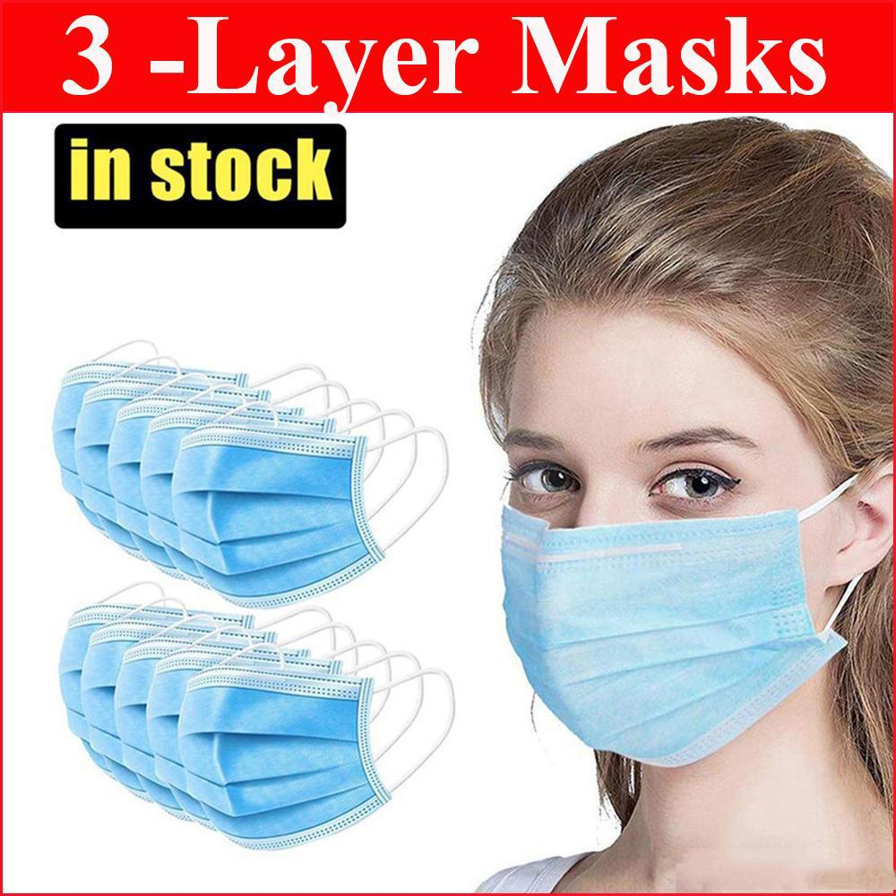 EEUU Stock desechables máscara máscaras cara no tejida de 3 capas anti Máscara de polvo impermeable Máscaras Respirador capas suave y transpirable Boca de seguridad