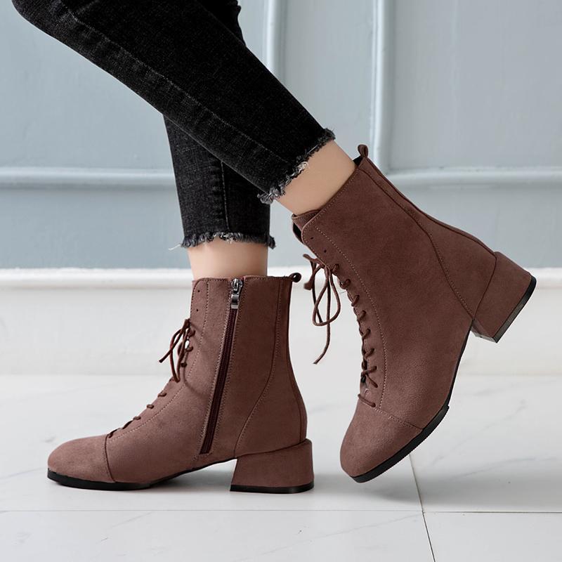 Kadın Martin Boots Kore Version Yuvarlak Kafa ince Vahşi Elastik Boots Kadın Sıcak Satış-2019 Sonbahar Kış Yeni Kalın