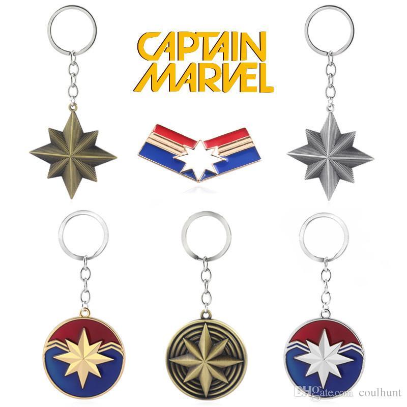 Novo filme Os Vingadores Capitão Marvel Logotipo Chaveiro Moda Metal Vingadores Superhero Carol Danvers Encantos Chaveiro Homens Presente Filme Jóias