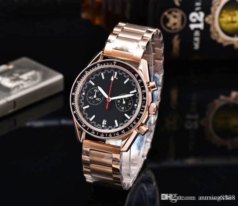 Высокое качество Все циферблаты работы Chrono Luxury Мужчины Конструктор Часы кварцевые календарь Наручные часы из нержавеющей стали Часы Часы Orologio