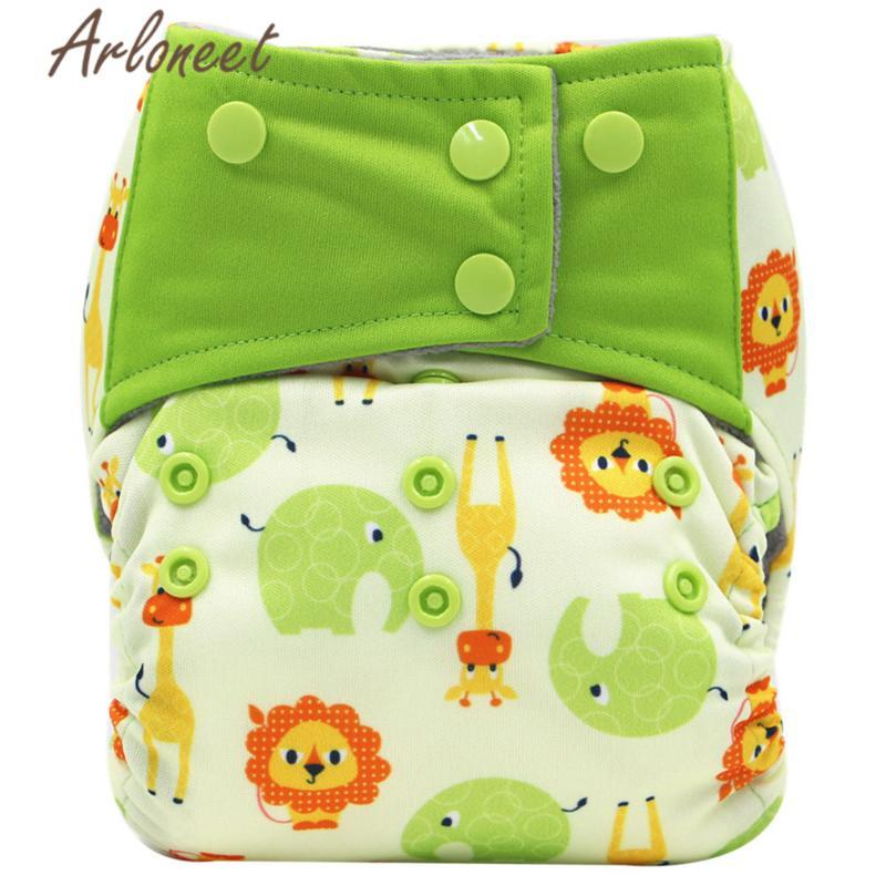 1PCS Unisex Baby Diaper Cartoon Reusable Waterproof Animal Print Baby Cloth Diaper Adjustable Nappies 0-3years 3-15kg