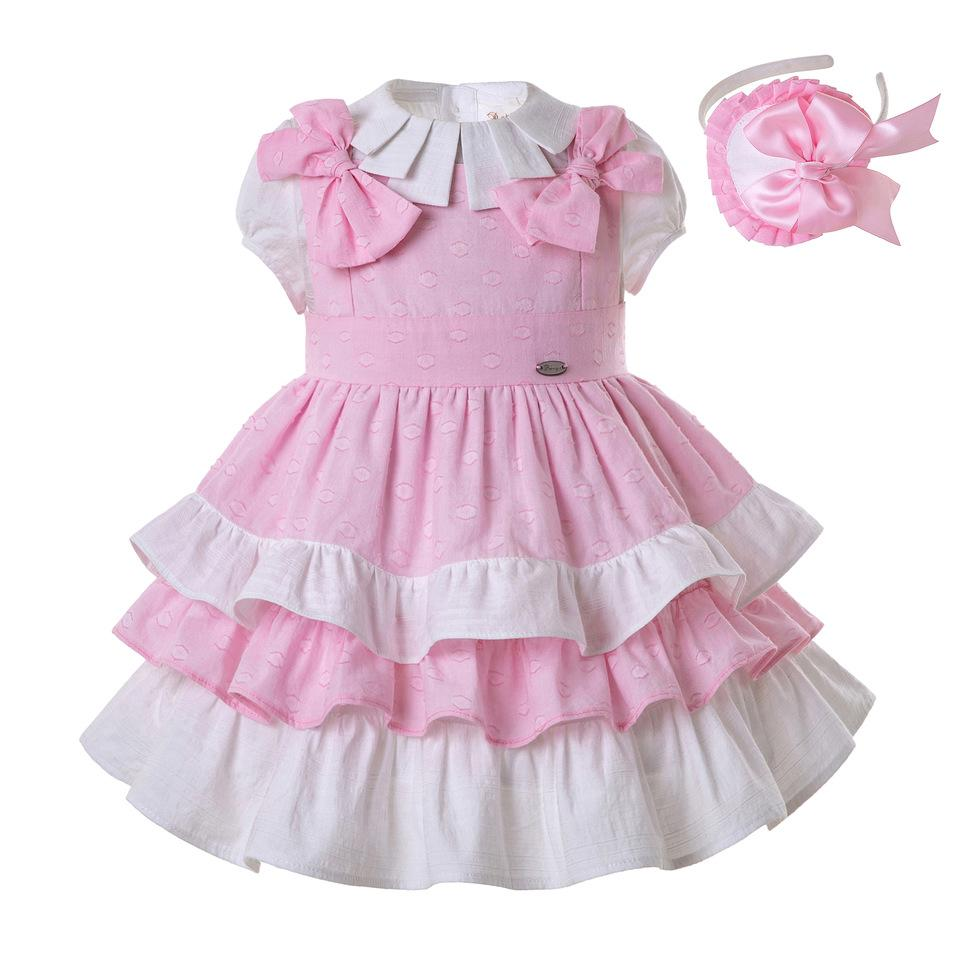 Pettigirl Summer Pleated Collar Girls Clothing Sets Pink Layers Party Costumes with Bows and Headband Kids Designer Clothes G-DMCS201-B505